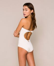 "One-piece swimsuit with sequins ""Milkway"" Beige Woman 201LBMCZZ-03"