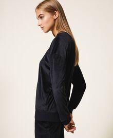 Chenille sweatshirt with rhinestones Black Woman 202LL2GEE-02