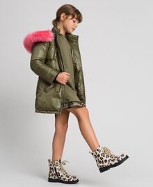 Hooded puffer jacket with faux fur Alpine Green Child 192GJ2072-03