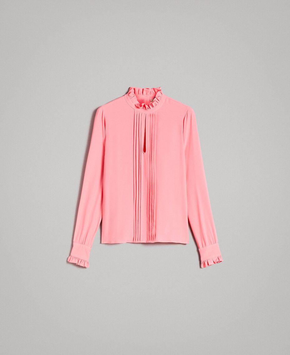 """Rüschen-Bluse aus Seidenmischung """"Wild Rose"""" Pink Frau 191TP2135-0S"""