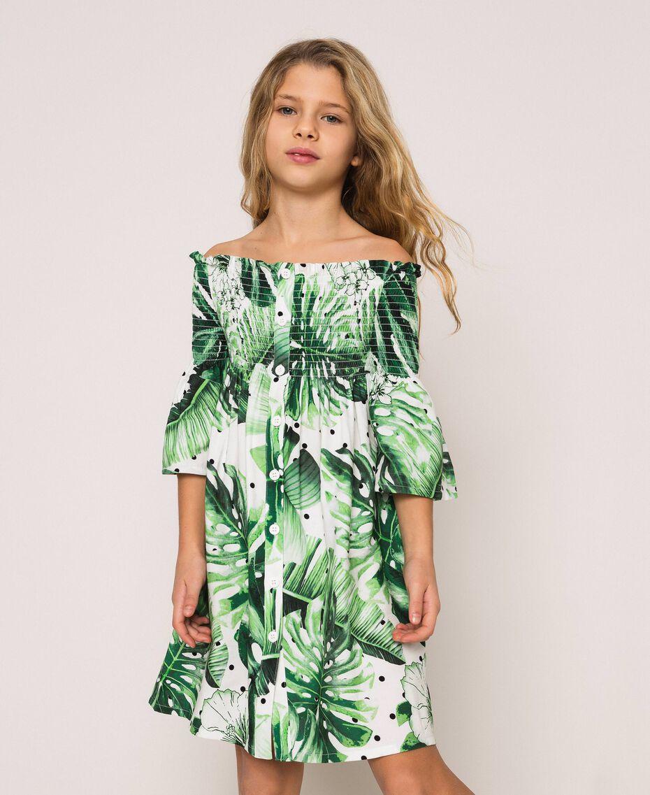 Tropical print dress Blue Polka Dot Tropical Print / Vichy Child 201GJ2302-02