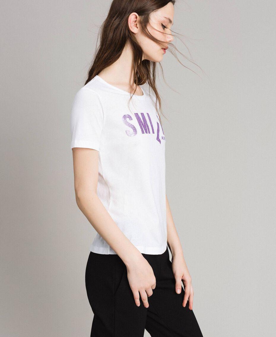 T-shirt with glitter print White Woman 191LB23LL-02