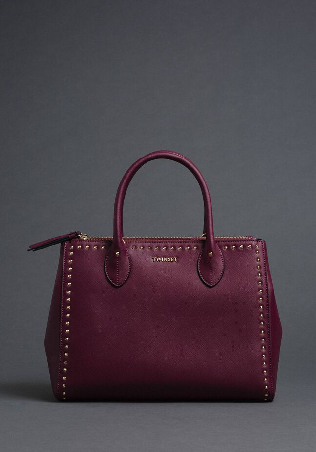Faux leather shopping bag with studs