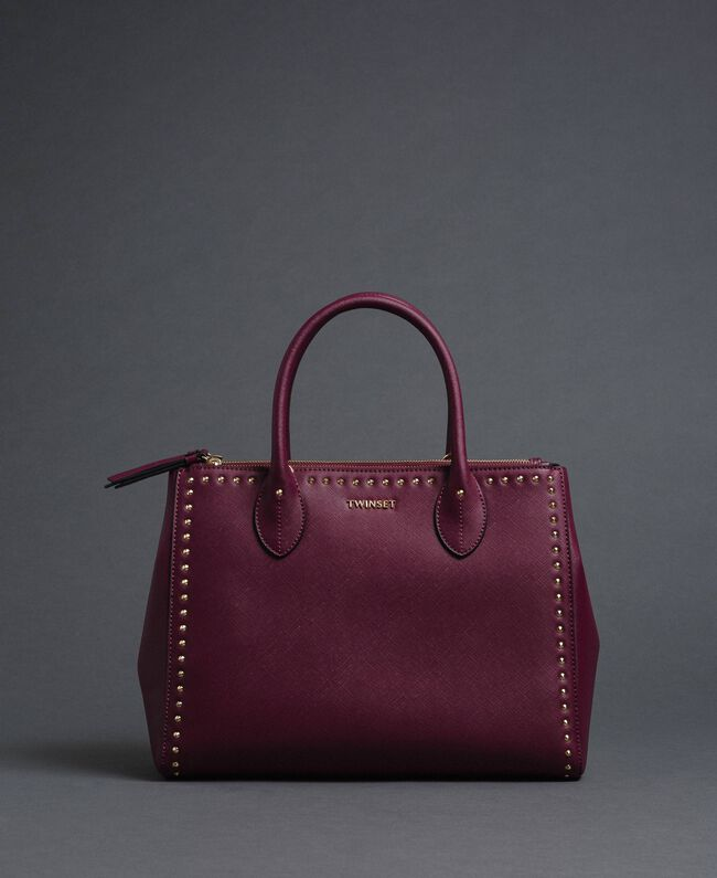 Borsa shopper in similpelle con borchie Rosso Beet Donna 192TA7210-01
