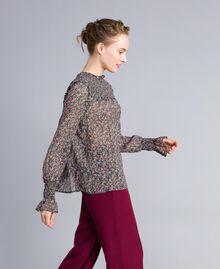 Blusa in georgette a stampa floreale Stampa Microfiore Multicolor Donna PA82MB-02