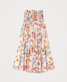 Robe-jupe avec imprimé floral Imprimé Fleur Grande Rose «Fuchsia Pink» Femme 211LM2JFF-0S