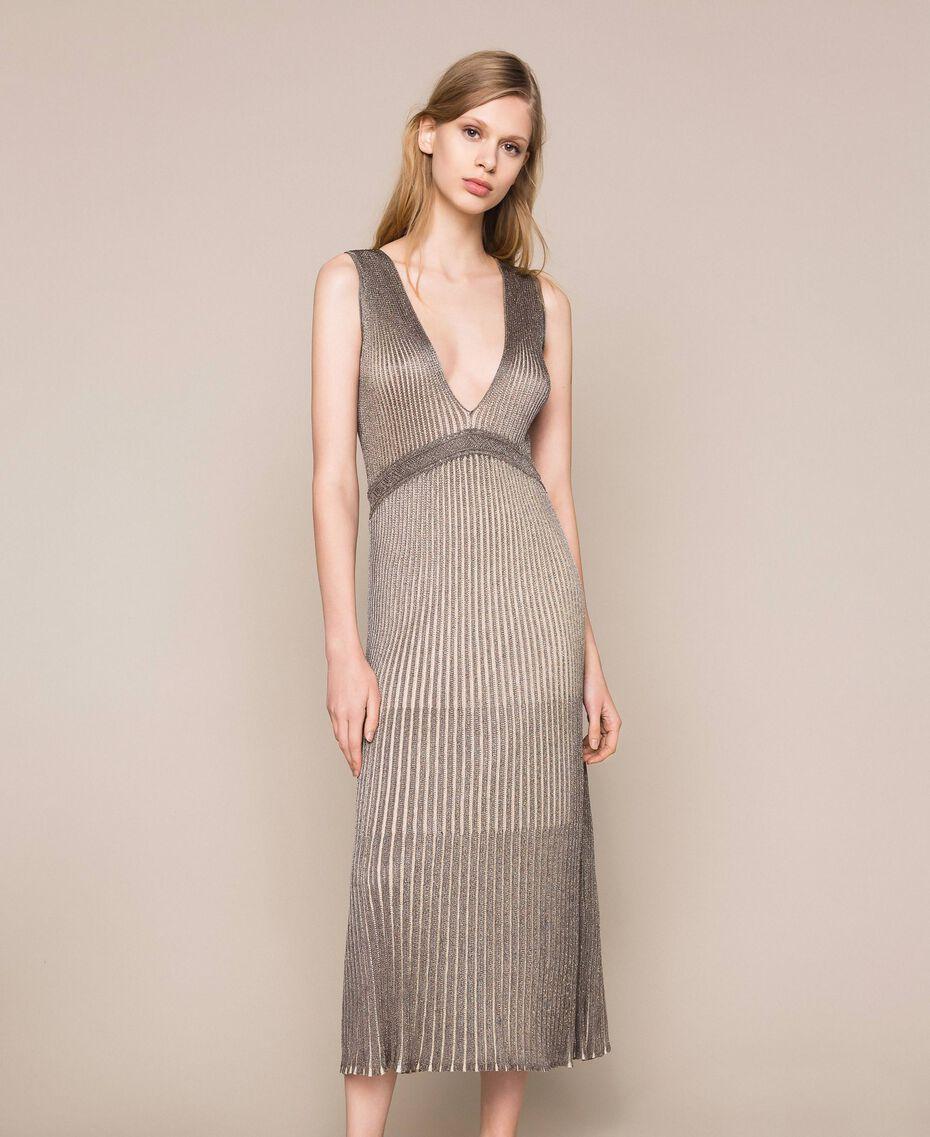 Vestido largo de tejido de lúrex Multicolor Plata Mujer 201TT3051-01