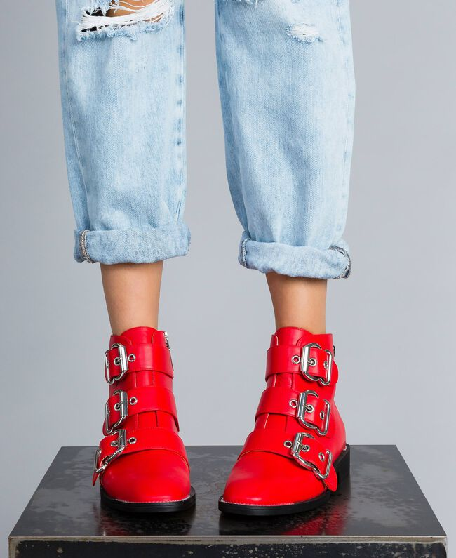 f53ec168a2c2 Ankle boots with macro buckles Poppy Red Woman DA8PHJ-0S