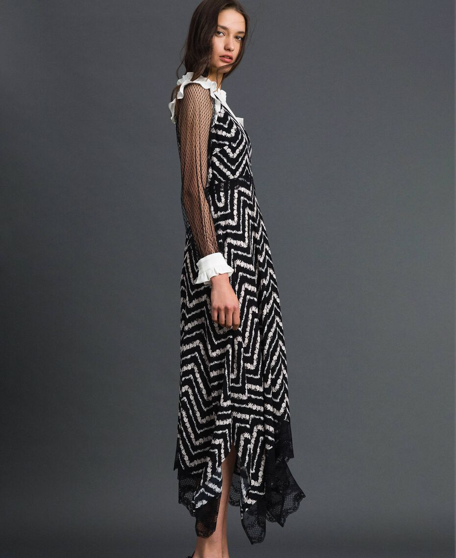 "Floral and chevron print long dress Black / ""Snow"" Chevron Print Woman 192TP2526-03"