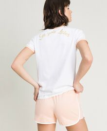 """Glitter butterfly short pajamas Two-tone Optical White / """"Pink Bouquet"""" Woman 191LL2GEE-03"""