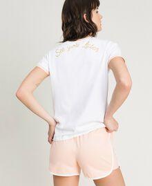 """Pyjama court avec papillon pailleté Bicolore Blanc Optique / """"Bouquet Rose"""" Femme 191LL2GEE-03"""