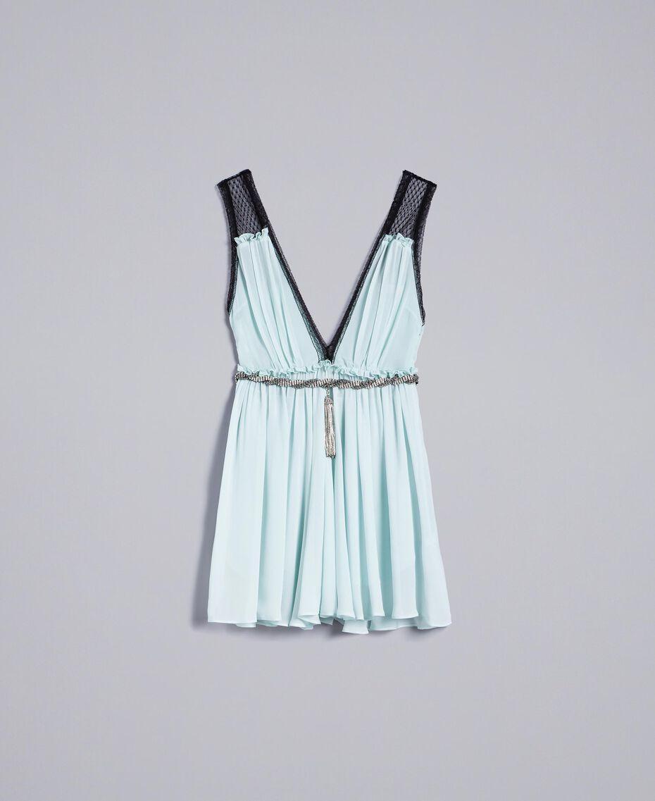 """Kleid mit floralem Print Blau """"Wasser"""" Frau QA8TNB-0S"""