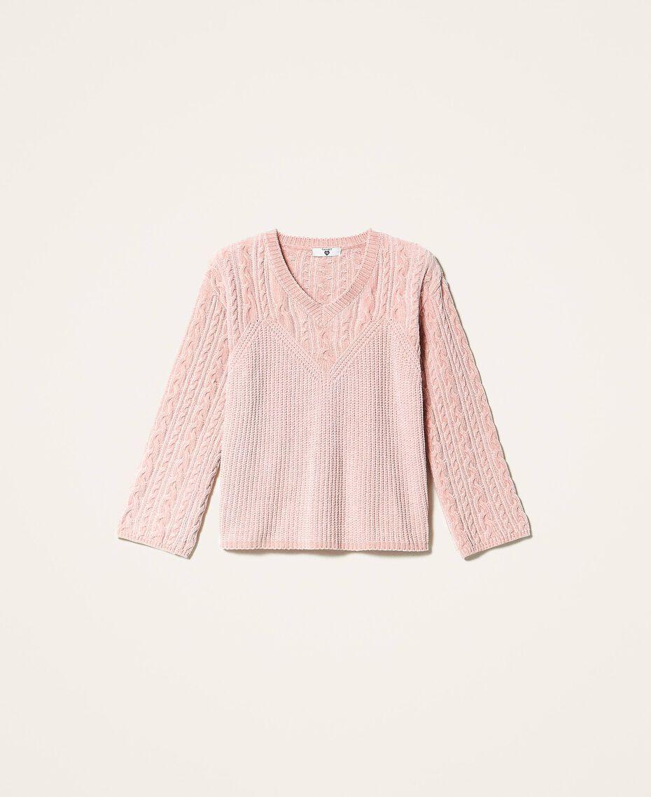 Pull en chenille avec torsades Rose «Pêche Poudré» Femme 202LL3GSS-0S