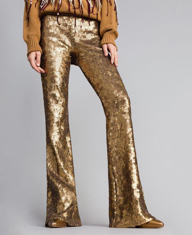 Hose mit Allover-Pailletten Gold Gelb Frau QA8TEF-03