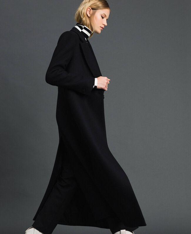 Langer Mantel aus Tuch Schwarz Frau 192TP2313-01