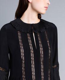 Robe longue en soie mélangée avec plissé Noir Femme TA823N-04
