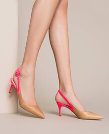 """Patent leather and leather slingback court shoes Two-tone """"Desert"""" Beige / Fluo Fuchsia Woman 201TCP010-0S"""