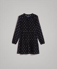 Kleid aus Georgette mit Tupfen und Volants Motiv Herz Polka Dot Schwarz / Weiß Frau 191MP2336-0S