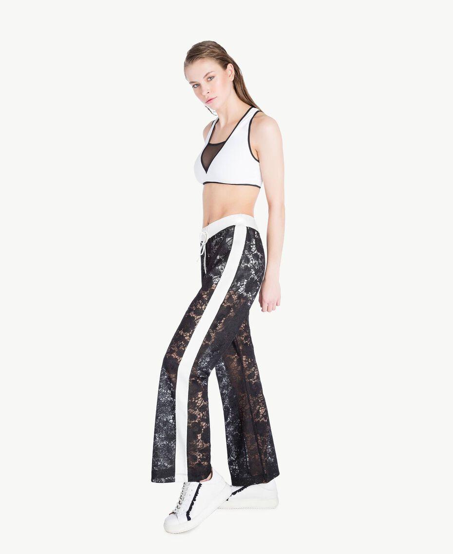 Lace trousers Two-tone Black / Optical White Woman LS89CC-03