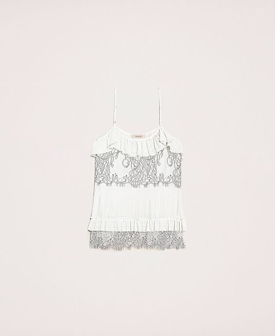 Pleated top with two-tone lace