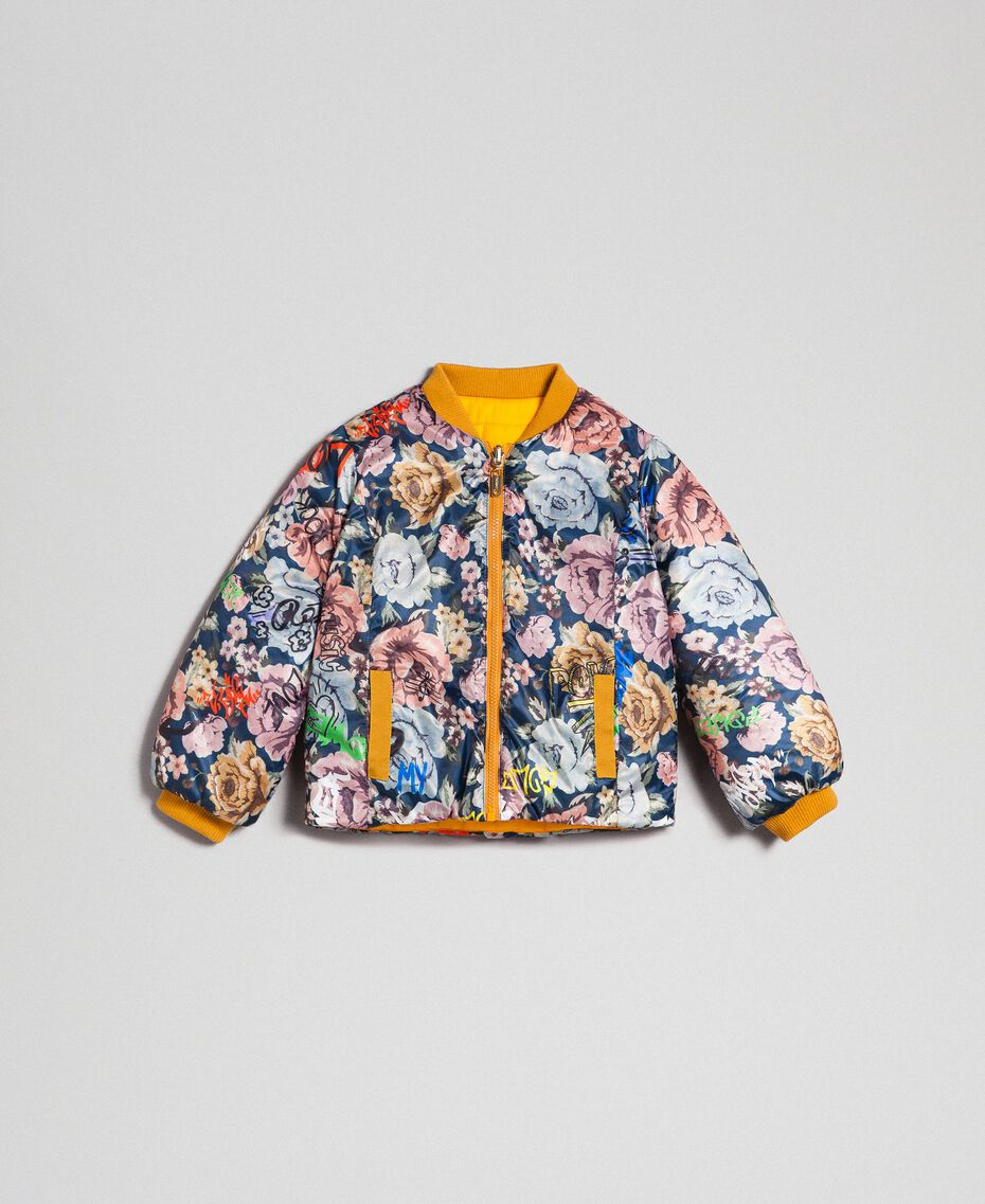 Reversible bomber-style puffer jacket Graffiti Print / Ochre Child 192GJ2120-0S