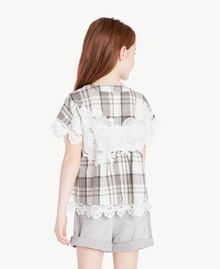 Lace blouse Chantilly Jacquard Check / Smoke Grey Child GS82JR-04