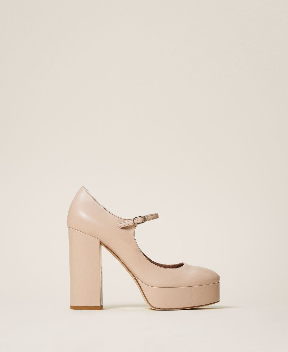 "Platform leather court shoes ""Nude"" Beige Woman 202TCP150-03"