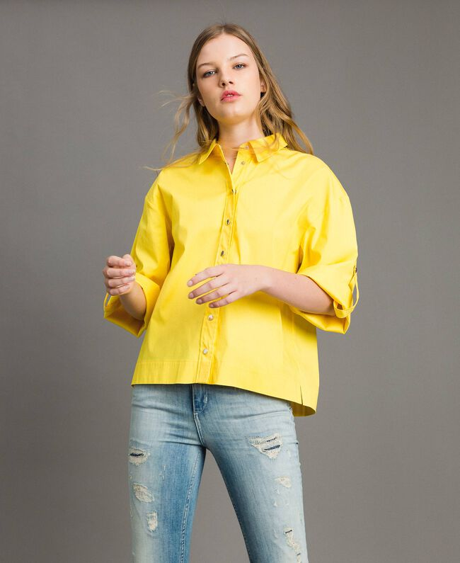 "Poplin boxy shirt ""Freesia"" Yellow Woman 191MP2211-03"