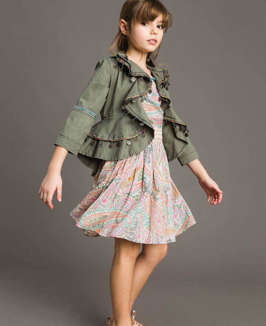 Muslin dress with paisley print Paisley Print Child 191GJ2510-0T