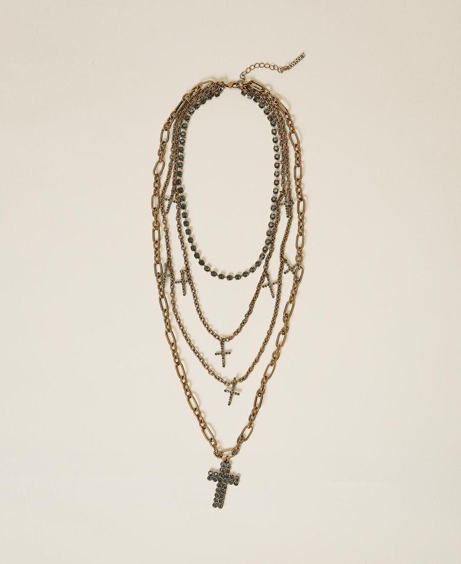 Multi-chain necklace with rhinestone crosses Black Diamond Grey Woman 202TA4316-02