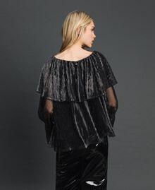 Blouse en tulle crépon métallique Noir / Argent Femme 192MT2142-03