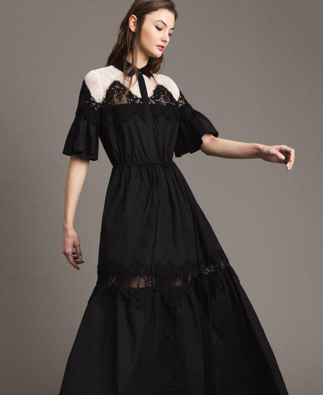 b3228fac2f9 Robe chemise longue en popeline ornée de dentelle Noir Femme 191TT2122-03