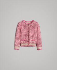 Gilet en fil lurex Bicolore Rose Perle Vrillé Femme 191TP3320-0S