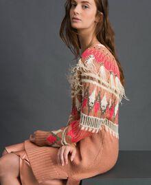 Maxi pull jacquard avec broderies et plumes Jacquard Fair Isle Noir Rose «Rose Nude» Femme 192TT3310-02