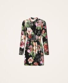 "Floral velvet sheath dress Black / ""Peach Pearl"" Floral Print Woman 202TT2361-0S"