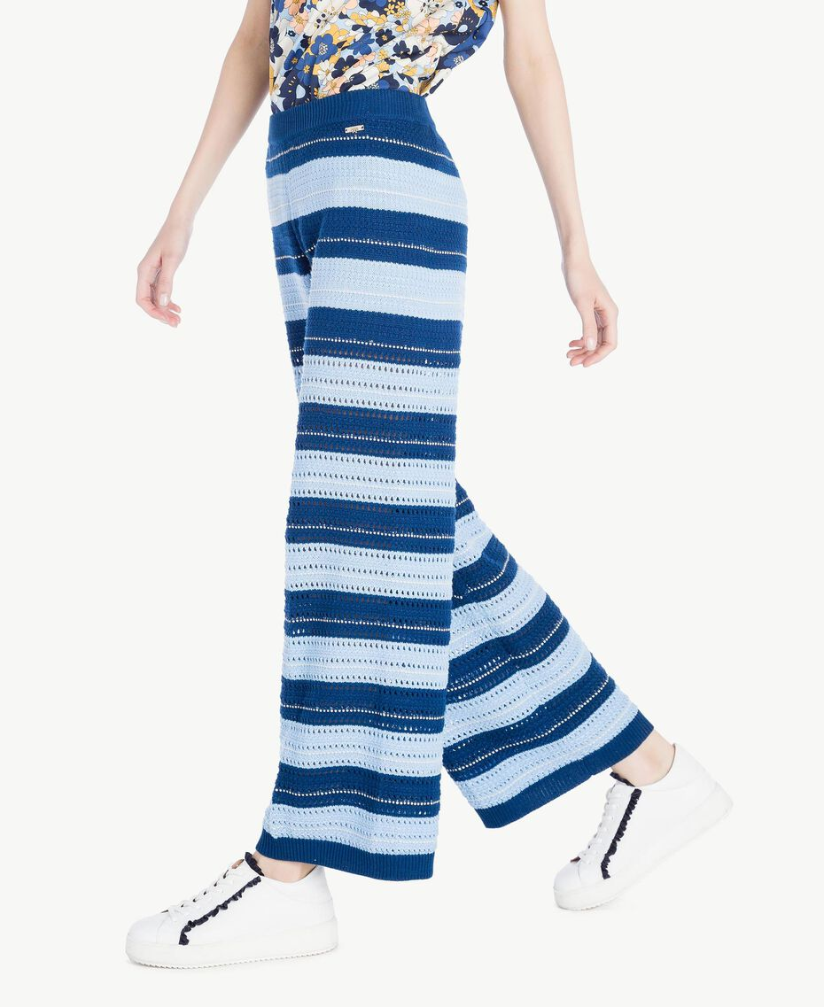 Pantacourt Multicolore Bleu Marine «Pivoine» / Bleu Placide / Beige «Corde» Femme SS83AF-02