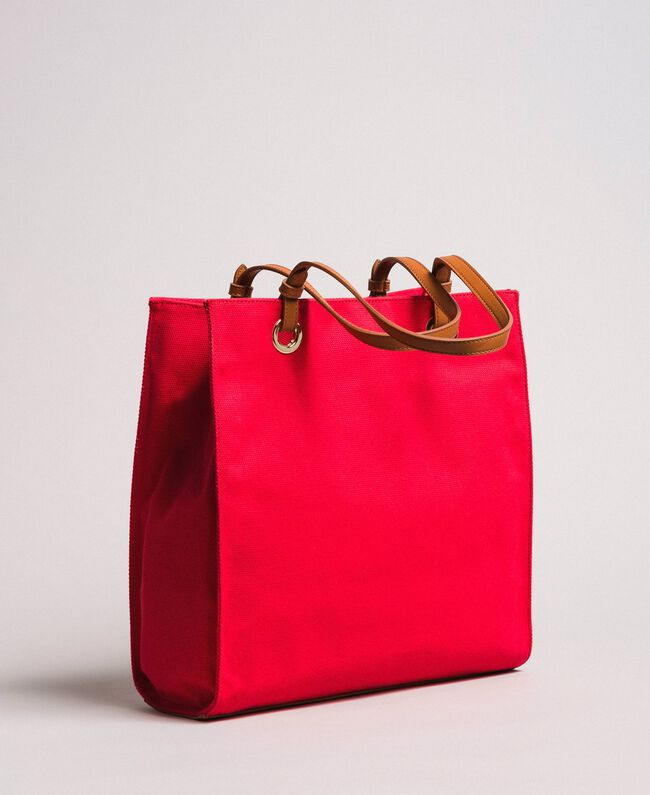 "Medium canvas shopping bag with logo ""Lipstick Red"" Woman 191TO8200-03"