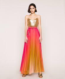 "Pleated chiffon long skirt ""Sugar Coral"" Red / Golden Yellow Fadeout Print Woman 201TT2520-0T"