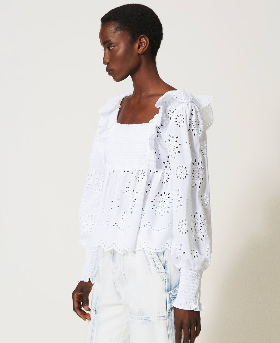 Muslin blouse with broderie anglaise embroidery White Woman 211TT2592-02