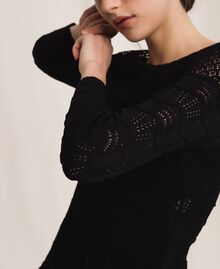 Lace stitch jumper Black Woman 201TP3211-04