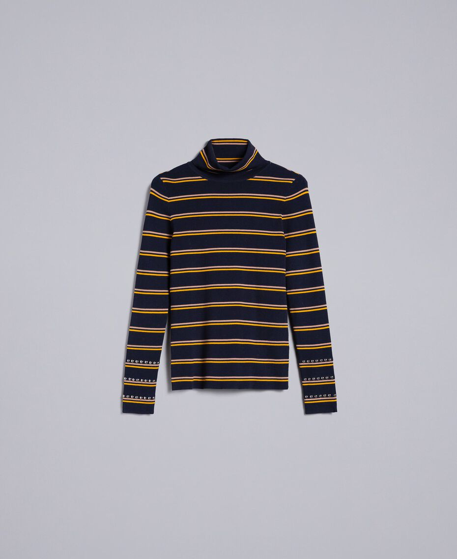 Two-tone striped viscose mock neck jumper Night Blue / Golden Yellow / Caramel Stripe Woman YA83DD-0S