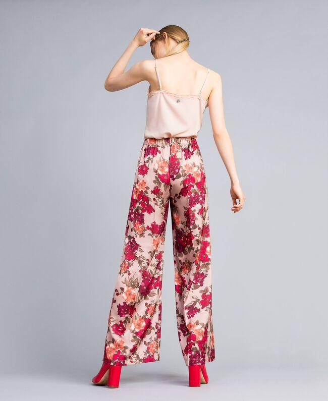 Pantalon palazzo avec imprimé floral Imprimé Floral Rose Nude Femme SA82E3-03