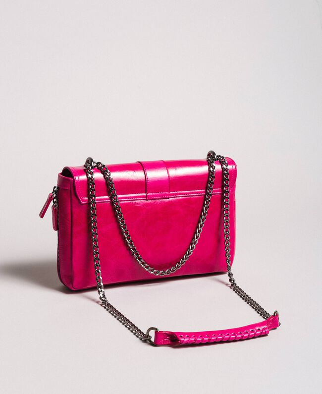 Rebel leather shoulder bag Fuxia Woman 191TO7233-04
