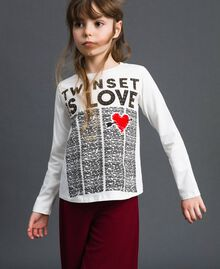 Printed t-shirt with studs News Print / Off White Child 192GJ231B-01