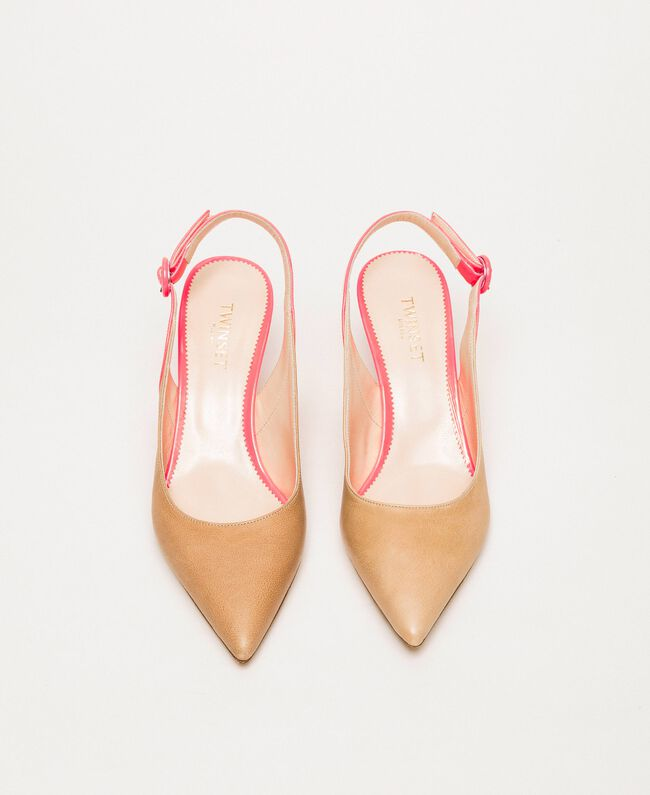 """Patent leather and leather slingback court shoes Two-tone """"Desert"""" Beige / Fluo Fuchsia Woman 201TCP010-04"""