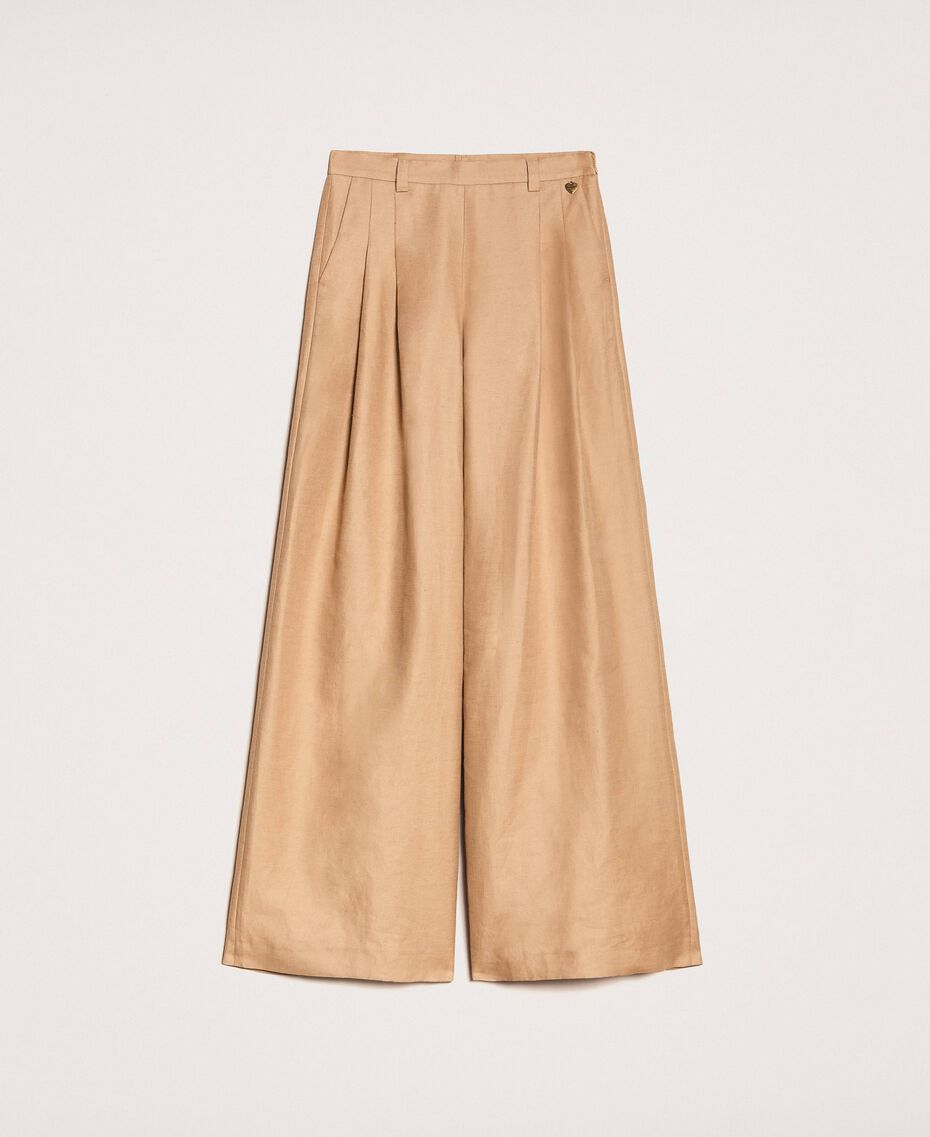 "Linen blend wide trousers ""Dune"" Beige Woman 201TP2257-0S"