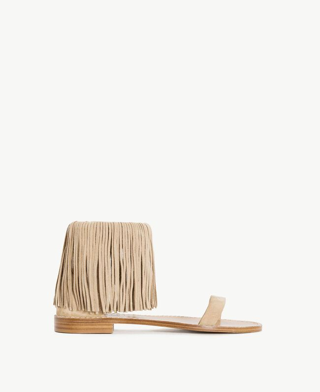 "TWINSET Fringe sandals ""Dune"" Beige Woman CS8TAN-01"
