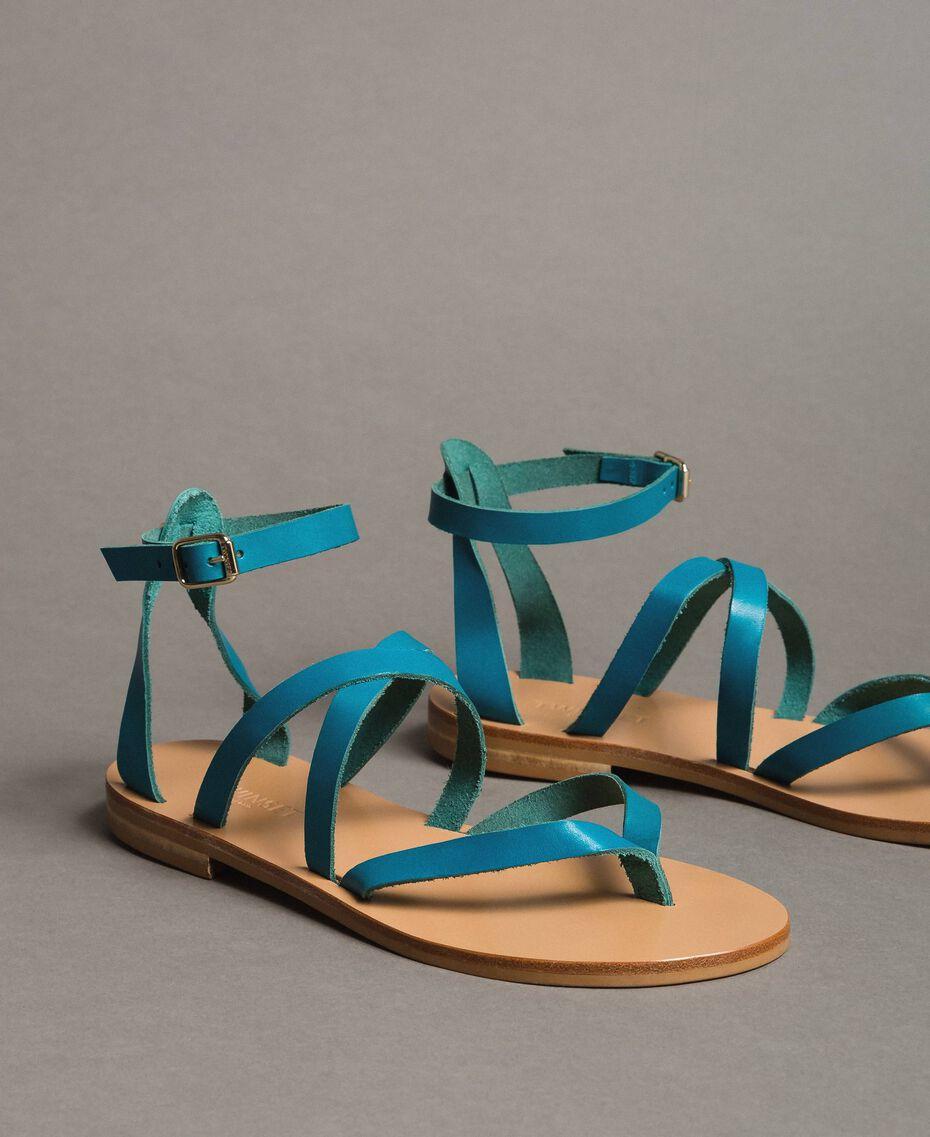 Leder-Sandalen mit Riemchen Keramikblau Frau 191TCT09U-01