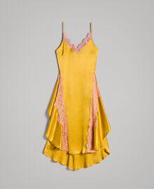 """Robe en soie et satin agrémentée de dentelle Bicolore Or """"Miel Doré"""" / Rouge """"Pomme Sauvage"""" Femme 191TT2090-0S"""