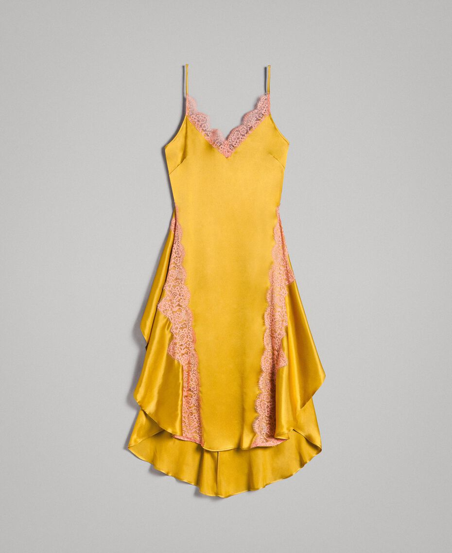 "Silk and satin dress with lace Two-tone ""Honey Gold"" / ""Crab Apple"" Red Woman 191TT2090-0S"